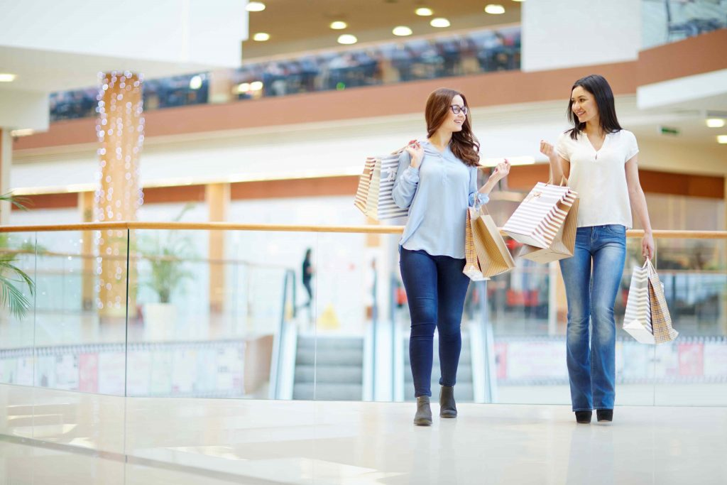 Shopping mall analytics people counting solution - shoppers talking center 1 1024x683 - People Counting Solutions to optimize mall operations.